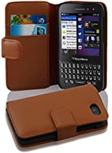Cadorabo Case Works with BlackBerry Q5 (Design Book Structure) - with 2 Card Slots - Wallet Case Etui Cover Pouch PU Leather Flip SADDLE-BROWN DE-100606