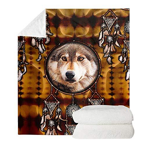 UOIMAG Cobijas de franela para regalo, diseño de lobo atrapasueños, manta de forro polar para casa, escuela, viajes, coche (150 x 200 cm)