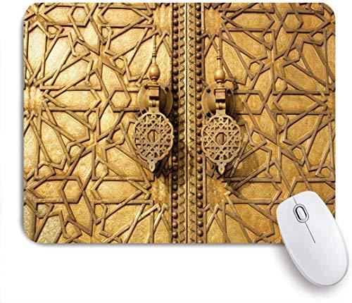 Alfombrilla de ratón rectangular personalizada, puertas principales marroquíes del Palacio Real en...