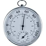 Indoor Outdoor Thermometer Wireless, Mini 4' Wall Thermometer Hygrometer with Aluminium Alloy Enclosure for Table, Wall, car, or Decorative, No Battery Required Hanging Hygrometer Round 4' in Diameter