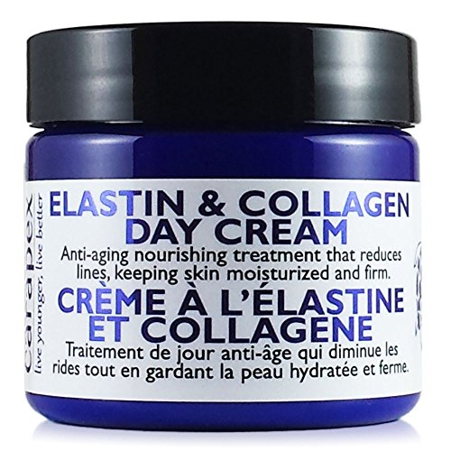 Carapex Elastin & Collagen Anti Aging Face Cream with Shea Butter & Vitamin E, Anti-Wrinkle Firming Day Cream for Dry to Combination Skin, Fragrance Free 2oz