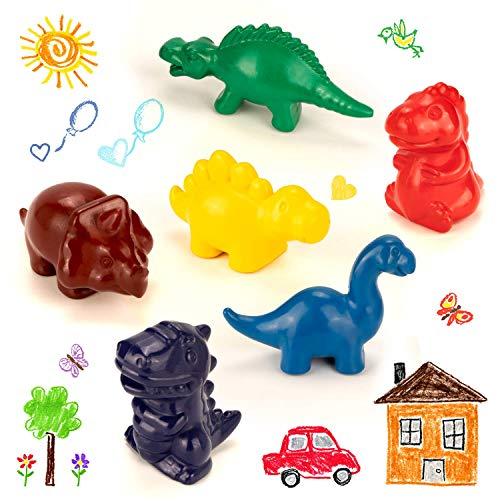 muscccm Crayons for Toddler,Paint Stick Crayons Safety and Non-Toxic Washable Easy to Hold Palm Crayons Toys for Kids,Babies,Boys and Girls Birthday Festival Gifts (6 Colors Dinosaur Crayons)