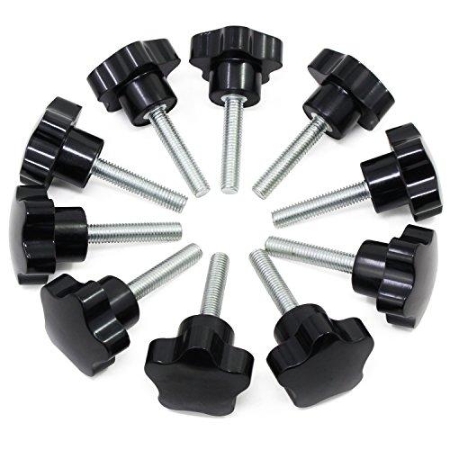 HSeaMall 10 STÜCKE M8x40 Gewinde Klemmknopf Schwarz Kunststoff Handknob Sternform Schraube auf Knopf für Werkzeugmaschine