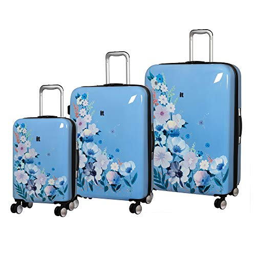 it luggage Sheen Hardside Expandable 3 Piece Set, Meadow Flora Blue Print