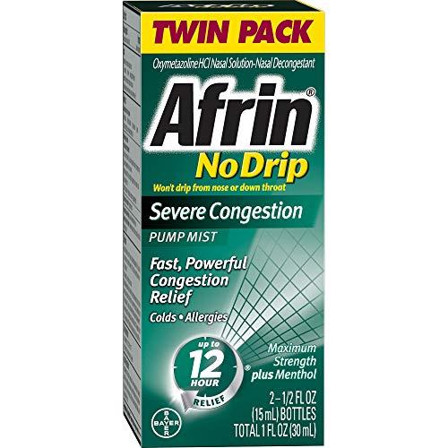 Afrin No Drip Severe Congestion Pump Nasal Mist Twin Pack, 0.50 Fluid Ounce