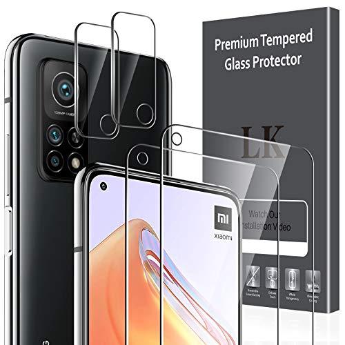 LK 4 Pack Protector Pantalla Compatible con Xiaomi Mi 10T 5G/Mi 10T Pro 5G,Contiene 2 Pack Cristal Vidrio Templado y 2 Pack Protector de Lente de Cámara, Doble Protección