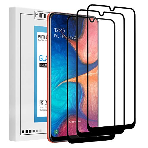 [3 Pack] MMDcase for Samsung Galaxy A20/A50 Screen Protector,Full Coverage Tempered Glass Screen Protector,9H Hardness,Anti Scratch,Bubble Free,Case Friendly(Black)