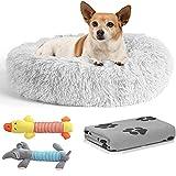 Cama Perro Antiestrés con Manta y 2 Juguetes para Perros, Cama para Perros Pequeños Redonda Tipo Donut de 50cm., Manta para Perros y 2 Juguetes para Perros (Dog Toys Gris)