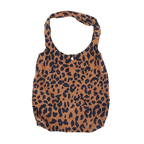 TENDYCOCO Leopardenmuster Umhängetasche Mode Cord Leinwand Weste Handtasche Beutel Einkaufstasche für Frauen