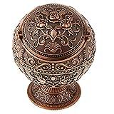 Hellery Vintage Mini Runde Kugel Mit 3D Handgefertigten Gestempelten Schmuck Aschenbecher Box - Rote Bronze - 3