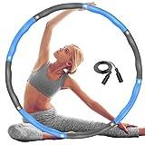 DUTISON Hula Hoop Reifen Erwachsene, Fitness Übung Gewichteter Hula-Hoop-Reifen mit Schaumstoff Einstellbar, 6-8 Knotens Segmente Abnehmbares Größenverstellbares Design für Kinder - mit Springseil