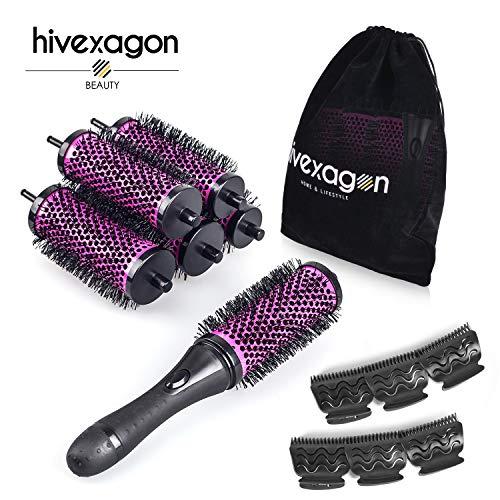 Hivexagon Bürsten Set Mit Abnehmbaren Rollen Rundes Styling Werkzeug, 6 Rollen 1 Griff 6 Clips, Klein Medium Groß