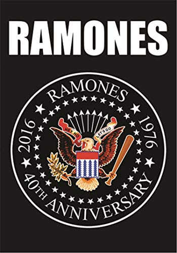 Heart Rock Licensed Bandera Ramones–40th Anniversary Logo, Tela,