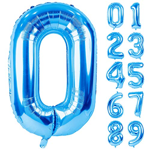 Lausatek Balloon Aluminum Number 0 Number 40 Inch Large Birthday Happy Birthday Decoration Blue Anniversary Party About 90cm Blue