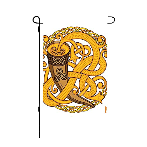 Home Decorative Happy Spring Garden Flag Celtic and Scandinavian Design of Drinking Horn and Woven Motif Farmhouse Outside Decorations Seasonal Outdoor Large Print Flag Double Sided 28 x 40