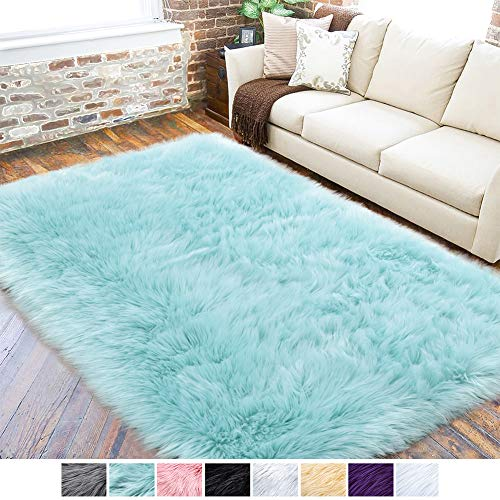 LOCHAS Ultra Soft Fluffy Rugs Faux Fur Sheepskin Area Rug for Bedroom Bedside Living Room Carpet Nursery Washable Floor Mat, 3x5 Feet Light Blue