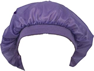 قبعة نوم ناعمة من الساتان بشريط مطاطي عريض ممتاز للنساء باللون الارجواني