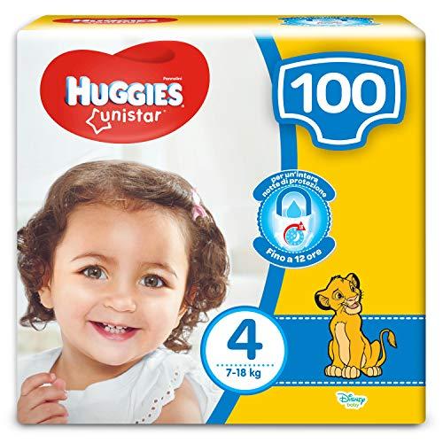HUGGIES Unistar Pannolini, Taglia 4 (7-18 kg), Confezione da 100