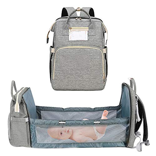 Multifunctional Baby Travel Cot,Mummy Bag,Nappy Changing Backpack Bag,Foldable Travel Crib Infant Sleeper for Baby and Toddler (Light Gray)