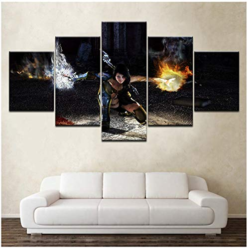 Gedrukt spel personages 5ps schilderij muur kunst Children's kamer Decor Poster Canvas -40x60 40x80 40x100cm Geen frame