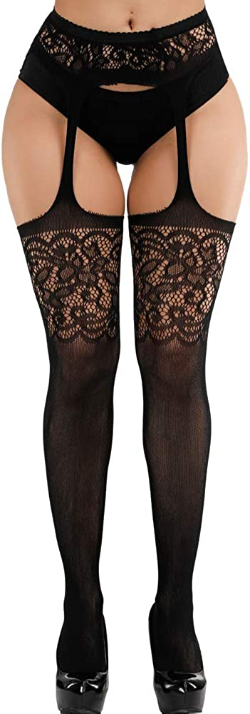Confonze Women's High Waist Fishnet Tights Suspenders Pantyhose Thigh High Stockings Black