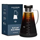 iced coffee cooler - Airtight Cold Brew Iced Coffee Maker (& Iced Tea Maker) with Spout – 1.5L/51oz Ovalware RJ3 Brewing Glass Carafe with Removable Stainless Steel Filter