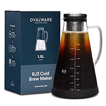 Airtight Cold Brew Iced Coffee Maker  & Iced Tea Maker  with Spout – 1.5L/ 51oz Ovalware RJ3 Brewing Glass Carafe with Removable Stainless Steel Filter