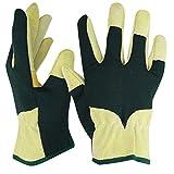 Navaris Guantes de jardinería de cuero M - Par de guantes