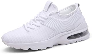 Fashion Men's Tide White Air Cushion Mesh Casual Shoes Men's Shoes Breathable Flying Woven Sports Shoes Men's Boots (Color : White, Size : 42)