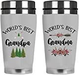 Mugzie Grandparents Coffee Mug Gift Set — World's Best Grandpa and Grandma – Couple Mugs Spill-Proof Stainless Steel Travel Tumbler with Lid — White, 16oz