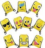 Mitgebsel Kindergeburtstag Emoji Turnbeutel Gastgeschenke Beutel 10 Stück Geschenktüte für Jungen Mädchen, Mitbringsel Geschenktaschen Geburtstagsfeier Partytüten