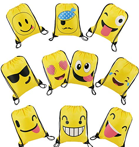 Emoji Party Bags Drawstring Backpacks 10pcs, Kids Birthday Party Give Aways Supplies for Boys Girls, String PE Beach Swim Bags for Children
