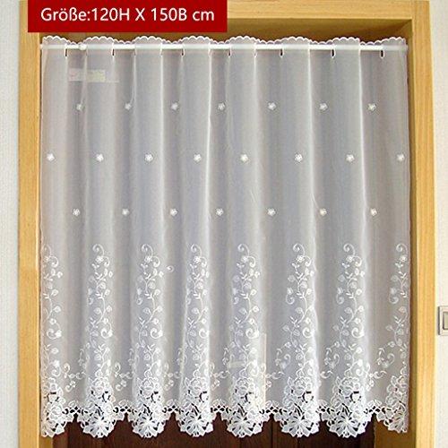 Yujiao Mao 1er Pack Halbtransparent Besticke Weiß Blumen Scheibengardine Küchen Vorhang Tür Gardine J13 HxB 120cmx150cm