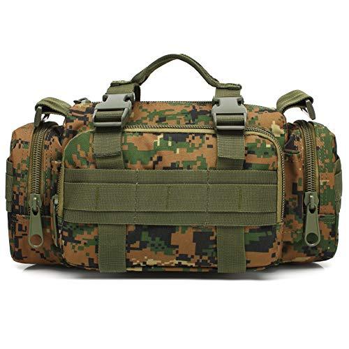 VIIDOO 3P Military Duffel Waist Bag, Molle Waterproof Fanny Packs Camo EDC Utility Pouch Crossbody with Shoulder Strap Hand Carry (Jungle Digital Camo)