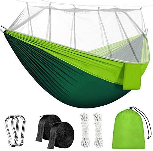 Camping hamaca, rusee Mosquito Red al aire libre hamaca Cama de viaje ligero Tela de paracaídas hamaca doble para uso en interiores, Camping, Senderismo, Backpacking, Patio