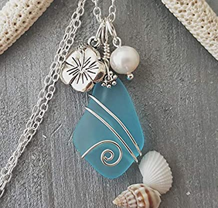 Handmade in Hawaii, wire wrapped blue sea glass necklace, Hawaiian state flower Hibiscus and