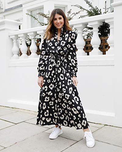The Drop Robe Longue pour Femme, à Manches Longues et Col Montant, Imprimé Léopard, par @wearetwinset