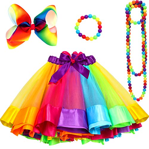 Girls Rainbow Layered Ballet Tulle Tutu Skirt with Hair Bow, Necklace and Bracelet(L)
