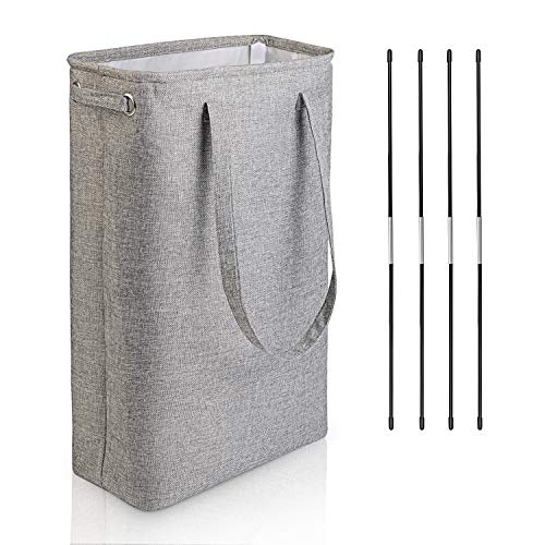 DYD Slim Laundry Basket with Handles Collapsible Linen Hampers for Bedroom Storage Built-in Lining with Detachable Brackets Well-Holding Foldable Laundry Hamper for Toys Clothing Organization