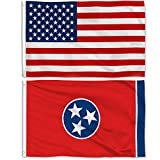 Aisto 2 Pieces 3x5 Feet Tennessee State Flag and American Flag for Outdoor and Indoor Use -Made by 100% Polyester-Vivid Colors and UV Fade Resistant - Double Stitched with Two Brass Grommets.