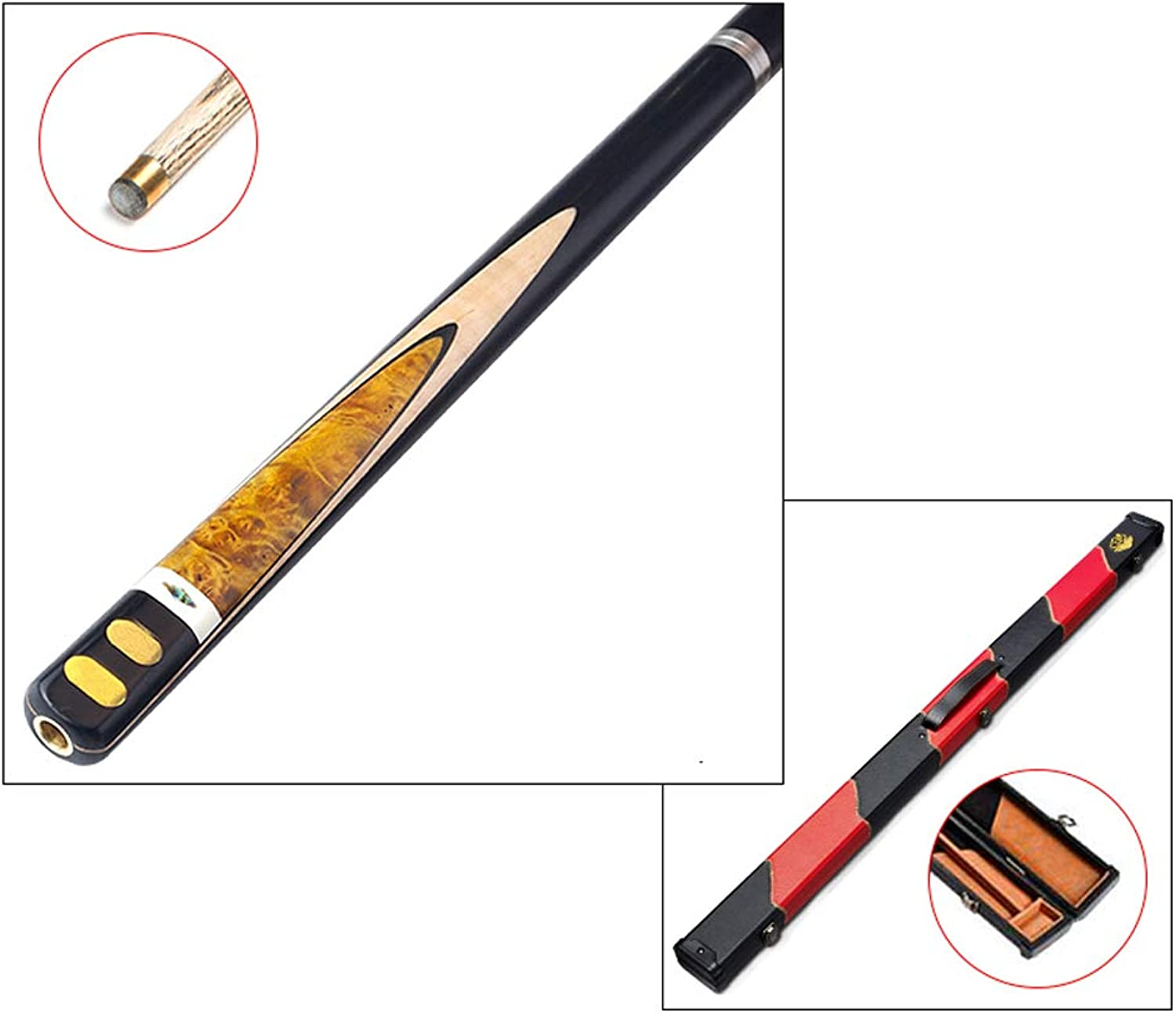 HETAO Pool Cue, Handmade 3 4 Rod Through 10mm Tip Snooker Black 8 Club American Billiard Bar with Rod Case Rubber Cushion Indoor