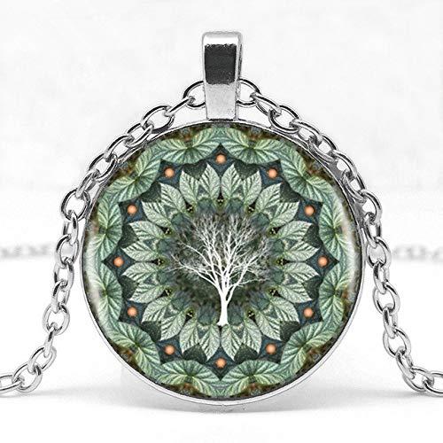 Eukalyptusblume Pflanze Mandala Logo Glas Anhänger Halskette Mandala Blume Bild Vintage Halskette Weibliche Halskette