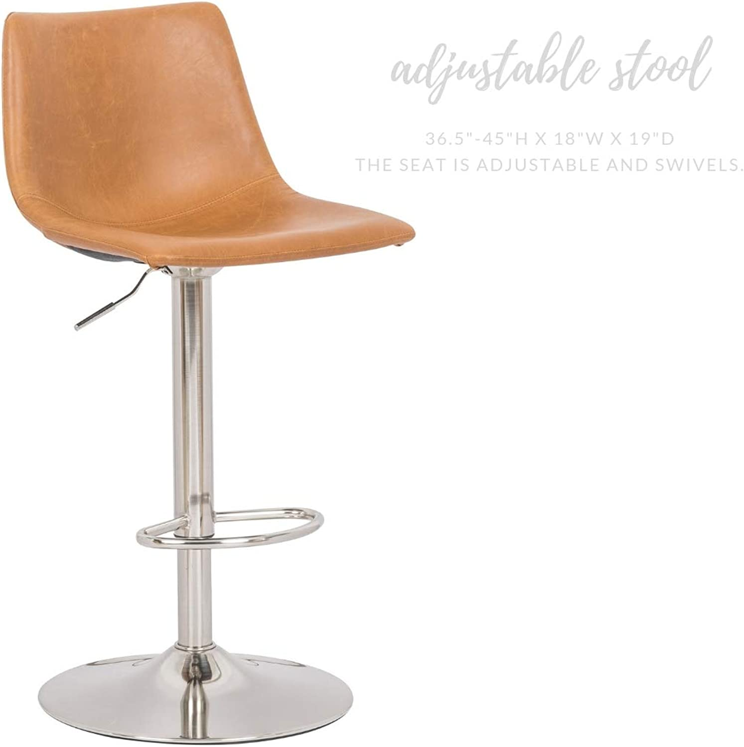 Take Me Home Furniture Oriel Adjustable Stool in Tan Pu with A Pedestal Chrome Base and Foot Rest in The Base