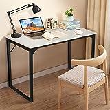 KingSo Computer Desk 39' Modern Simple Style Laptop Office Desk Wood Notebook Industrial White Desk Table, Metal Frame Study Desk Gaming Desk for Home Office Workstation