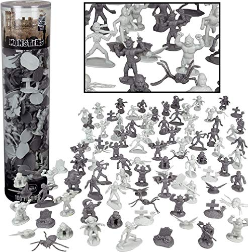 Monster Mini Action Figure Playset- 100 Horror Toy Miniatures w 13 Unique Sculpts - Dracula, Frankenstein, Giant Spiders and More- XL 1/32nd Scale Halloween Character Accessories