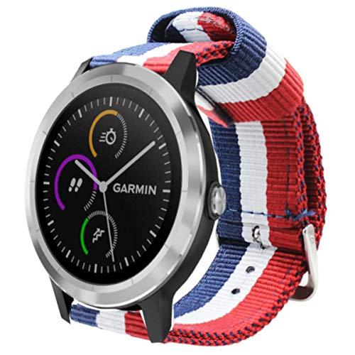 Estuyoya - Pulsera de Nailon Compatible con Garmin Vivoactive 3/Galaxy Watch Active 2/Forerunner 245/645 Music/Suunto 3/Polar Ignite Colores de Francia Transpirable Elegante 20mm