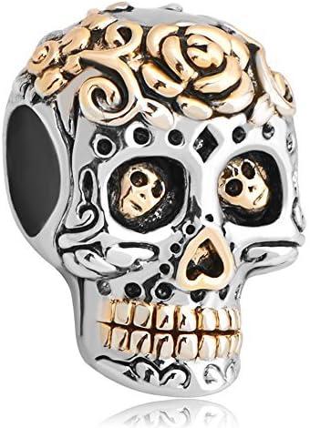 Third Time Charm Dia De Los Muertos Folwer Skull Charm Beads Fits European Charm Bracelet