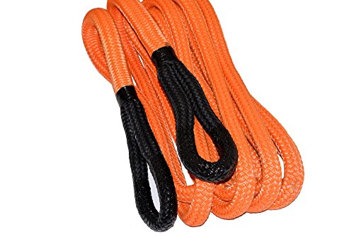 QIQU Kinetic Recovery & Tow Rope Heavy Duty Vehicle Tow Strap Rope for Truck ATV UTV SUV Snowmobile and 4x4 Off-Road Recovery 3 Size to Choose(1/2''/3/4''/1'') 3 Color (3/4''x30', Orange)