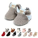 Ohwawadi Infant Baby Boys Girls Slippers Cozy Fleece Booties Soft Bottom Warm Cartoon Socks Newborn Crib Shoes (0-6 Months, A-Grey)