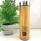 eBuyGB Taza de Viaje de bambú Personalizada, Taza de Viaje de Baby Yoda de 500 ml con temática de Star Wars, Regalo Divertido para Padrinos (Yoda Best Godmother)